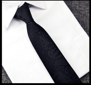 Cavat bản nhỏ hoa đen chim phối với áo sơ mi trắng