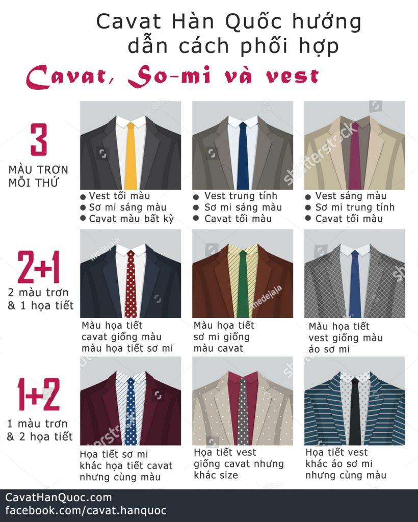 Cách phối hợp sơ mi, vest, cavat đẹp chuẩn phong cách