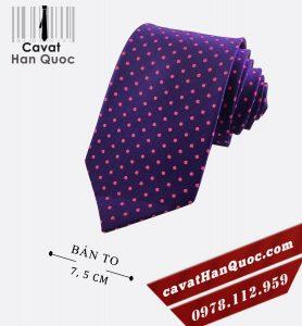 Cà vạt màu tím chấm bi