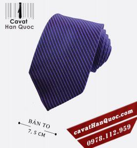 Cà vạt kẻ sọc màu xanh tím bản to