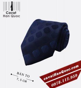 Cà vạt bản to xanh than họa tiết