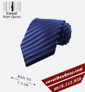 Cà vạt kẻ sọc xanh đen bản to