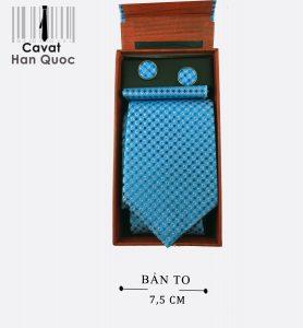 Cà vạt hộp quà tặng chấm bi xanh ngọc