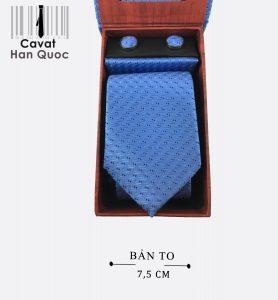 Cà vạt hộp quà tặng chấm bi xanh nhạt