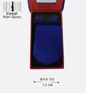 Cà vạt hộp quà tặng họa tiết xanh đậm
