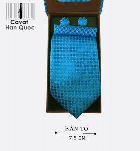 Cà vạt hộp quà tặng ô vuông xanh ngọc