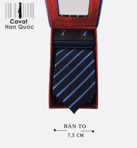 Cà vạt hộp quà tặng xanh đen kẻ bạc