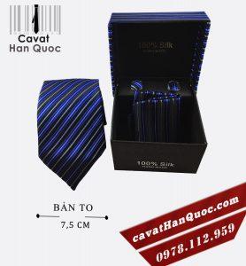 Cà vạt hộp quà tặng sọc xanh đen