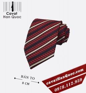 Cà vạt đỏ mận kẻ sọc bản to