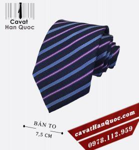 Cà vạt xanh than sọc tăm xanh tím