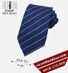 Cà vạt xanh dương đậm kẻ sọc