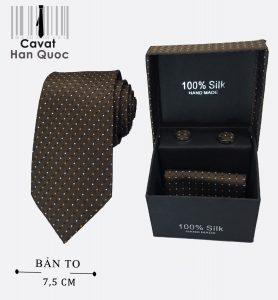 Cà vạt màu nâu chấm bi kèm hộp
