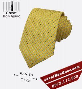 Cà vạt màu vàng chấm bi bản 7,5 cm