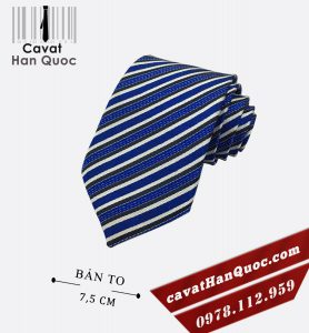 Cà vạt bản to nam xanh dương kẻ trắng