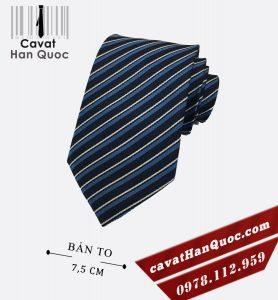Cà vạt xanh than sọc tăm xanh