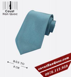 Cà vạt bản to gân chìm trơn 1 màu xanh steel