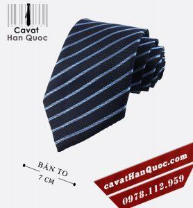Cà vạt lịch sự xanh than kẻ bạc