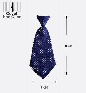 Cà vạt nữ xanh than chấm bi trắng có kích thước 18 x 8 cm