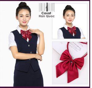 Nơ đeo cổ nữ đỏ mận rất đẹp với đồng phục công sở