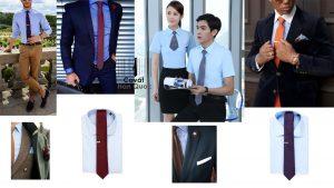 Áo sơ mi hồng đeo cà vạt màu xanh than, cà vạt màu đỏ mận, cà vạt màu cam, cà vạt màu nâu, cà vạt màu tím là đẹp nhất