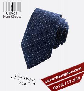 cà vạt chấm bi xanh đen bản 7cm
