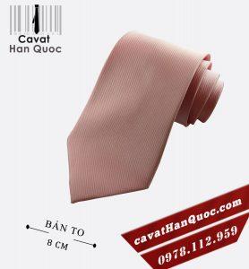 Cà vạt hồng nhạt lòng tôm bản to