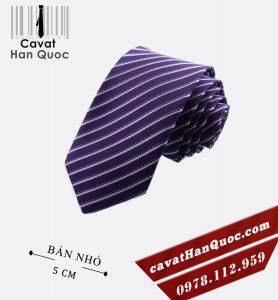 Cà vạt bản nhỏ tím sọc tăm