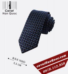 Cà vạt bản nhỏ xanh than bạc chấm bi cam