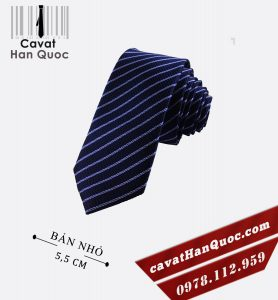 Cà vạt bản nhỏ xanh than kẻ tăm trắng
