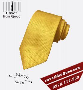Cà vạt nam cao cấp màu vàng chấm cam
