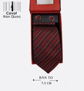 Cà vạt quà tặng đỏ mận kẻ sọc