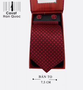 Cà vạt quà tặng đỏ mận caro đen