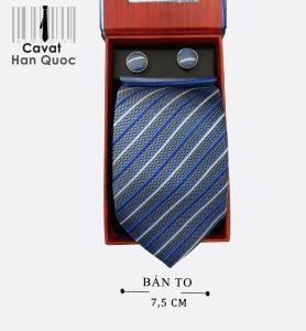 Cà vạt quà tặng xám đậm kẻ trắng xanh