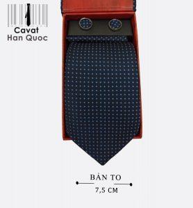 Cà vạt quà tặng xanh than chấm vuông bạc