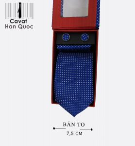 Cà vạt quà tặng xanh dương chấm bi trắng