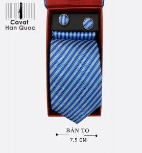 Cà vạt quà tặng xanh dương nhạt kẻ xanh