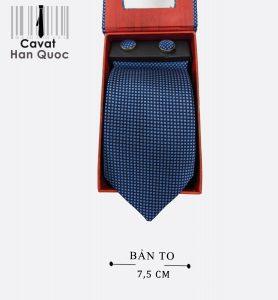Cà vạt quà tặng xanh than chấm bi bạc