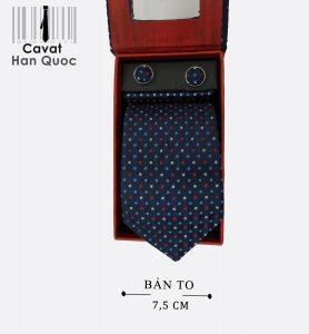 Cà vạt quà tặng xanh than chấm màu