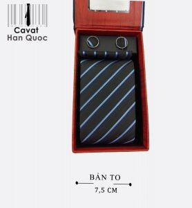 Cà vạt quà tặng xanh than kẻ bạc