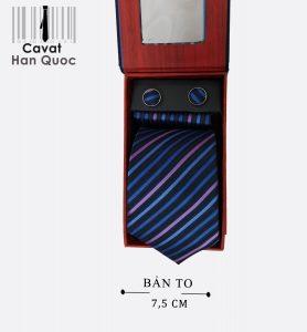 Cà vạt quà tặng xanh than kẻ xanh tím