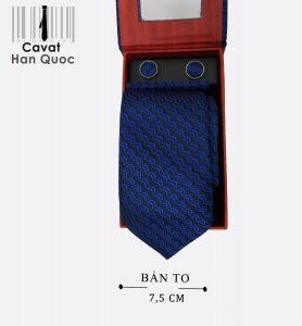 Cà vạt quà tặng xanh than sóng