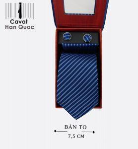 Cà vạt quà tặng xanh than kẻ xanh nhạt