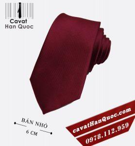 Cà vạt nam đỏ đô bản nhỏ cao cấp 6 cm
