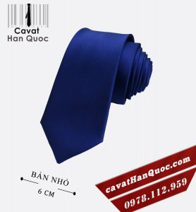 Cà vạt nam xanh dương bản nhỏ cao cấp 6 cm