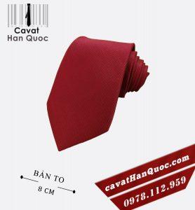 Cà vạt đỏ bầm gân tăm bản to 8 cm