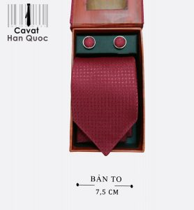 Cà vạt quà tặng đỏ mận caro tie