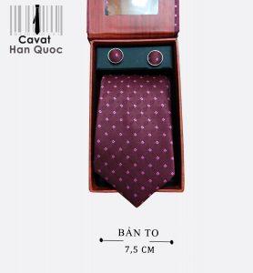 Cà vạt quà tặng đỏ mận chấm vuông
