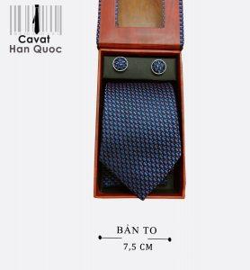 Cà vạt quà tặng xanh than chấm bi cam