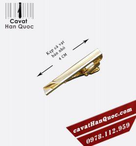 Kẹp cà vạt mạ vàng bản nhỏ pha bạc