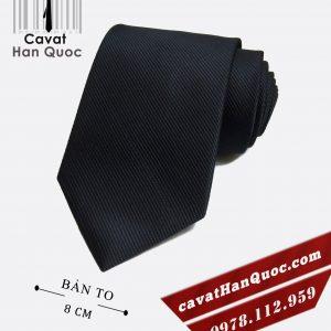 Cà vạt đen gân tăm cao cấp bản to 8 cm